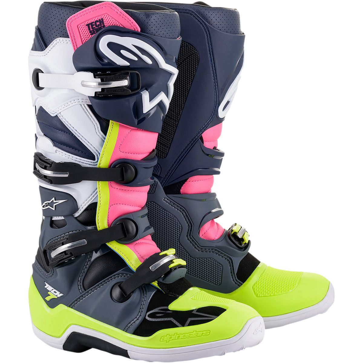 Alpinestars Crosslaarzen Tech 7 Pink/Fluo Yellow