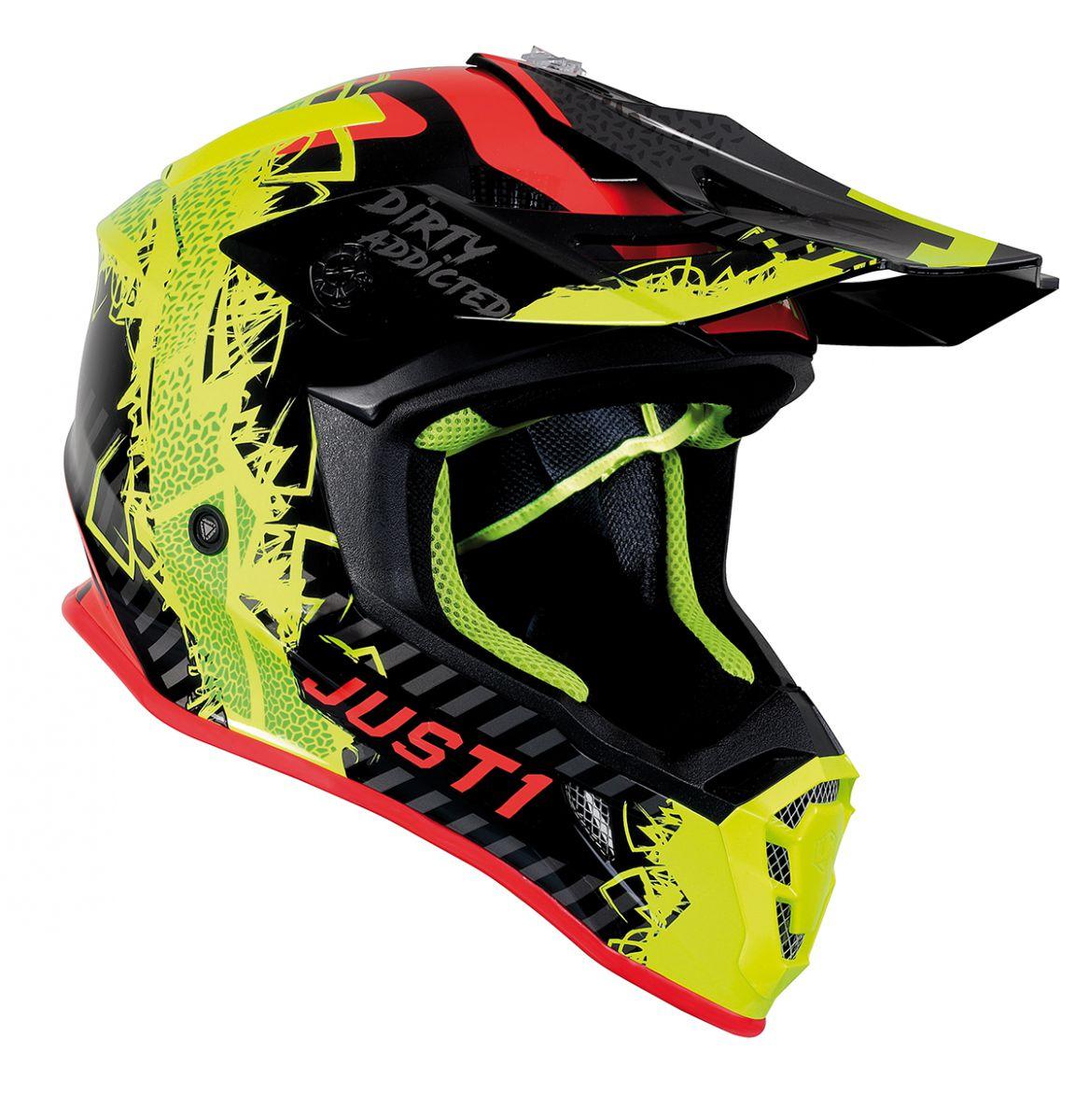 JUST1 Helmet J38 Mask Fluo Yellow/Red/Black 60-L