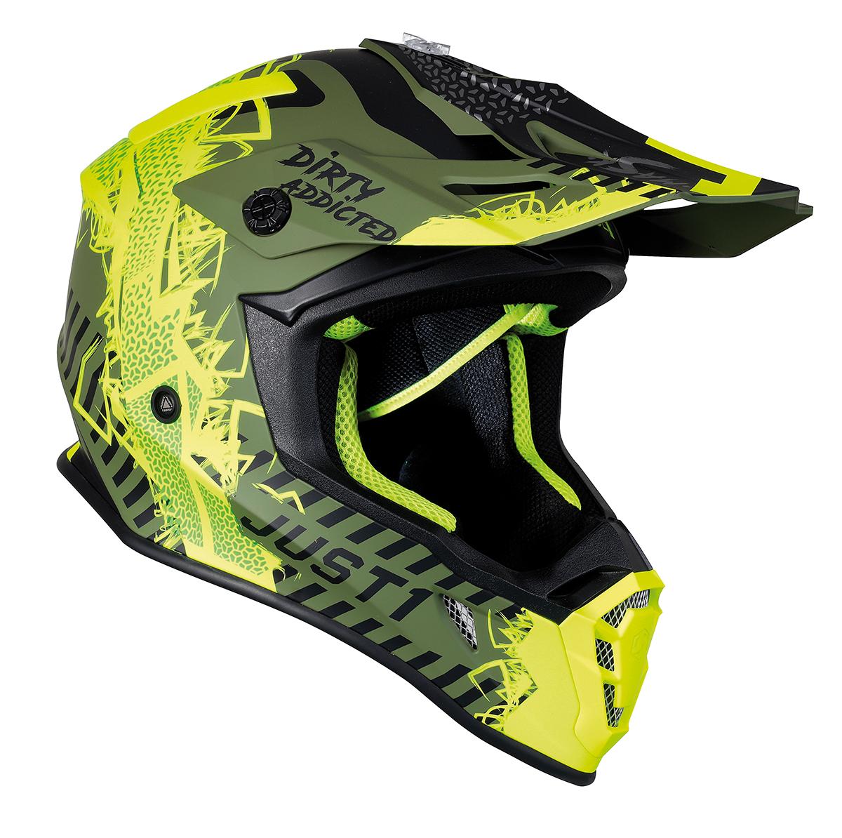 JUST1 Helmet J38 Mask Fluo Yellow/Black/Army Green 60-L