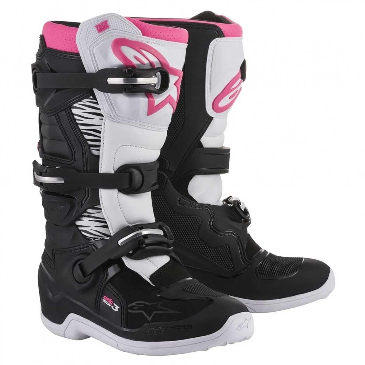 Alpinestars Dames Crosslaarzen Tech 3 Stella Black/White/Pink